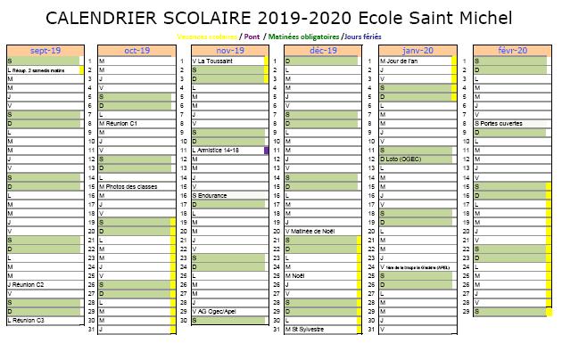 Calendrier Scolaire 2019 Et 2020 Pdf.Calendrier Scolaire 2019 2020 Ecole Saint Michel